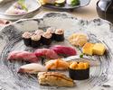 寿司ディナー「基」先付、にぎり8貫、デザートのコース