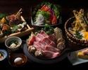 【特選黒毛和牛のすき焼きと握り寿司コース】豪華新鮮鮮魚六点盛り、自家製胡麻豆腐、極上わらび餅(全8品)2時間飲み放題付