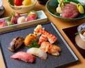 旬のお寿司と黒毛和牛すき焼きの会席コース【松】