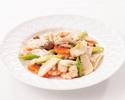 北海道産アイナメと海老の2種海鮮炒め