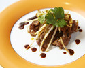 【ランチ・礼華】季節の前菜二種、衣笠茸入り自家製鶏の白湯スープ、海老チリ、もち豚の黒酢ソース等 全6品