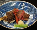 Charcoal-grilled Halal Ozaki-beef course 25,000JPY