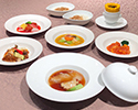 【Aperitif service】 Beautiful skin course Boiled figure of shark fin and salmon / Chili sauce of large prawns / Stir fry of beef and salmon xo / Shanghai vegetable anchovy of seasonal vegetables / Sweet potato vinegar of marinated pork and wild love / Shark fin or rice / 5 items from papaya medicine dessert