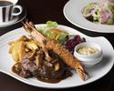 特大有頭海老のフライ 自家製タルタルソース 黒毛和牛のハンバーグステーキまたは鮮魚のソテランチセット