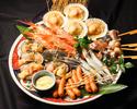 海鮮浜焼き7品と牡蠣のピッツア付きコース【飲み物は別途ご注文ください】