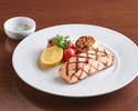 Grilled Norwegian salmon fillet, dill creme sauce, poached broccoli