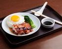 Honey barbecued pork, fried egg, choi sum, steamed rice