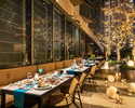 "【Terrace Seating with a glass of Champagne】""Mediterranean Greek Barbecue Terrace with a glass of champagne"