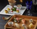 《9.10月限定 プレミアム記念日コース》『本格寿司盛合せ&活け鮑と和王牛ステーキ』と記念日デザート盛り
