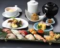 1ドリンク付き!旬の先付や煮物と、厳選ネタのにぎり寿し盛合せセット「熊野」ディナー