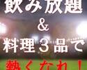 【スポーツ観戦限定】試合開始30分前~終了まで「飲み放題」&「料理3品付き」★全員カモン!!