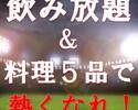 【スポーツ観戦限定】試合開始30分前~終了まで「飲み放題」&「料理5品付き」★全員集合!!