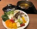 冬期限定【ホールテーブル席ディナー】新鮮なお野菜をしゃぶしゃぶで食べ放題いただけるコースです。お好みのステーキと共にご提供いたします