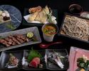 【お祝い・ご接待】肴3種、お造り、蟹と雲丹の茶碗蒸し、天ぷら、焼き物、グランド・メニューからお好みで選べるお蕎麦など蘇枋会席お食事お任せコース