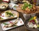 【お食事に】ハタハタの塩焼きに若鶏の朴葉焼き×ぎばさのかき揚げなど9品 3850円(税込)