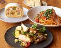 【テイクアウト】KIHACHIのパスタセットE(パスタ+肉料理+デザート+パン)