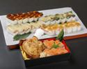 【デリバリー】骨付き鶏モモ肉の唐揚げと押し寿司(サーモン)