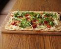 Pizza Napoli with ciccioli ham, semidried tomatoes, scamorza and wild arugula
