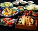 【カウンター確約!】乾杯1ドリンク+旬のお刺身や季節の天ぷらなど旬菜コース7品+食後カフェ付き