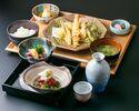 【ちょいのみ天ぷら定食】如月人気商品の天ぷらを定食に。座付、鮮物付き。季節感も楽しめる夜のお得セット