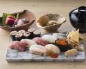 4/1-寿司ランチ「倖」 新鮮素材の本鮪、白身、イカなど握り九貫