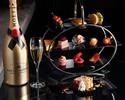 【イブニングハイティー】シェフ特製オードブル&デザート・苺のミルフィーユ 乾杯シャンパン+選べる2ドリンク