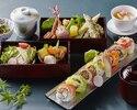 【期間限定 乾杯酒付き】彩りロール寿司8貫と季節を味わうSHARI御膳