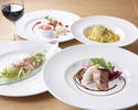 【UvaRara 5月の旬食材の特製ランチコース『イル・プランツォ』】アンティパスト2種、パスタ、選べるメイン、デザート盛り合わせ等全5品のイタリアンランチ