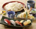うどんとにぎり寿司のランチセット