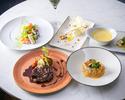 ディナー【前菜&スープ&お魚とお肉のダブルメイン&デザート】全5品+乾杯ドリンク付き