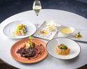 ディナー【前菜&スープ&お魚とお肉のダブルメイン&デザート】全5品+フリーフロー